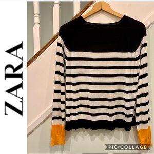 Zara Knit Striped Crew Neck Sweater Marigold Cuffs